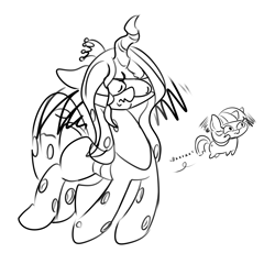 Size: 1500x1500 | Tagged: safe, artist:skoon, queen chrysalis, twilight sparkle, alicorn, changeling, black and white, female, grayscale, monochrome, sketch, twiggie