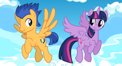 Size: 2064x1114 | Tagged: safe, anonymous artist, artist:cloudyglow, artist:osipush, edit, vector edit, flash sentry, twilight sparkle, alicorn, pegasus, cloud, female, flashlight, flying, looking at each other, male, mare, shipping, sky, smiling, stallion, straight, twilight sparkle (alicorn), vector