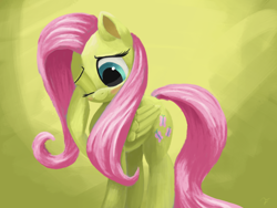 Size: 4000x3000 | Tagged: safe, artist:flusanix, fluttershy, pegasus, pony, blushing, cute, female, high res, mare, one eye closed, shyabetes, simple background, solo, yellow background