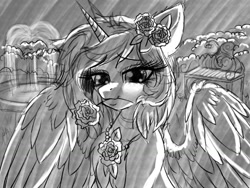 Size: 1024x768 | Tagged: safe, artist:pearl123_art, oc, oc only, oc:pearl, alicorn, pony, alicorn oc, eyelashes, female, flower, flower in hair, flower in mouth, grayscale, horn, mare, monochrome, mouth hold, solo, spread wings, wings