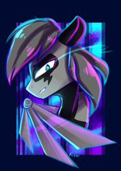 Size: 2480x3507 | Tagged: safe, artist:kiwwsplash, oc, oc only, pegasus, pony, abstract background, amputee, artificial wings, augmented, bust, glowing eyes, pegasus oc, prosthetic limb, prosthetic wing, prosthetics, solo, wings