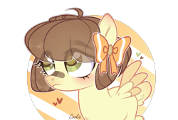 Size: 2067x1399 | Tagged: safe, artist:lazuli, oc, oc only, pegasus, pony, bandaid, bow, eye clipping through hair, hair bow, heart, looking up, pegasus oc, simple background, solo, transparent background, wings