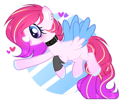 Size: 2714x2210 | Tagged: safe, artist:lazuli, oc, oc only, pegasus, pony, collar, colored hooves, ear piercing, earring, flying, heart, jewelry, open mouth, pegasus oc, piercing, simple background, smiling, solo, transparent background, two toned wings, wings