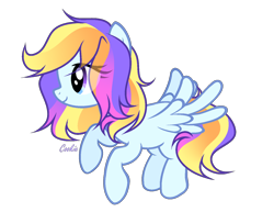 Size: 1450x1120 | Tagged: safe, artist:lazuli, oc, oc only, pegasus, pony, eye clipping through hair, eyelashes, flying, pegasus oc, simple background, smiling, solo, transparent background, wings