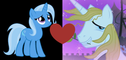 Size: 1068x508 | Tagged: safe, prince blueblood, trixie, pony, unicorn, the best night ever, bluetrix, female, male, mare, mouth hold, shipping, shipping domino, stallion, straight