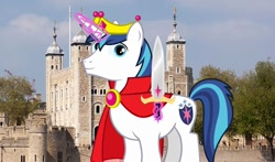 Size: 1280x755 | Tagged: safe, artist:ambassad0r, artist:disneymarvel96, edit, vector edit, shining armor, pony, unicorn, brooch, cape, clothes, crown, england, irl, jewelry, london, magic, male, photo, ponies in real life, regalia, solo, sword, tower of london, united kingdom, vector, weapon