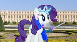 Size: 1280x697 | Tagged: safe, artist:disneymarvel96, artist:luckreza8, artist:razethebeast, rarity, pony, unicorn, brooch, cape, clothes, crown, female, france, irl, jewelry, palaceofversailles, paris, photo, ponies in real life, regalia, solo, sword, versailles, weapon