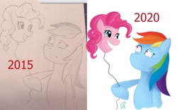 Size: 3053x1900 | Tagged: safe, artist:cynfularts, pinkie pie, rainbow dash, earth pony, pegasus, pony, balloon, comparison, confused, creeped out, creepy, drawing, funny, irl, joke, old vs new, photo, pinkie being pinkie, silly, silly pony, simple background, uncanny, wat, white background