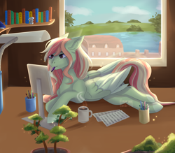 Size: 4000x3500   Tagged: safe, artist:mskuropatka, oc, oc only, oc:gray lily, bonsai, book, bookshelf, commission, computer, lamp, mouth hold, mug, solo, window, your character here