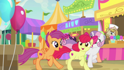 Size: 1920x1080 | Tagged: safe, screencap, apple bloom, jeff letrotski, scootaloo, sweetie belle, growing up is hard to do, balloon, cutie mark crusaders, older