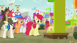 Size: 1920x1080 | Tagged: safe, screencap, apple bloom, scootaloo, sweetie belle, growing up is hard to do, cutie mark crusaders, hammer, older, ring the bell