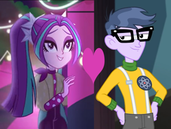 Size: 960x720 | Tagged: safe, edit, edited screencap, screencap, aria blaze, microchips, equestria girls, equestria girls series, find the magic, spoiler:eqg series (season 2), all the world's off stage: micro chips, ariachips, female, heart, male, shipping, shipping domino, straight