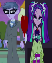 Size: 570x696 | Tagged: safe, edit, edited screencap, screencap, aria blaze, microchips, equestria girls, equestria girls (movie), rainbow rocks, ariachips, clothes, female, heart, male, shipping, shipping domino, straight, tuxedo