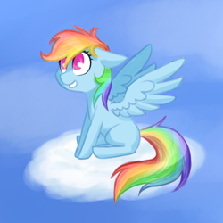 Size: 550x550 | Tagged: safe, artist:breadcipher, rainbow dash, pegasus, pony, cloud, colored pupils, female, floppy ears, mare, missing cutie mark, on a cloud, sky, smiling, solo