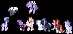 Size: 2224x1022 | Tagged: safe, artist:fuxebuxe, rainbow dash, twilight sparkle, oc, oc:double rainbow, oc:dreary dreamer, oc:glistening sangria, oc:light speed, oc:prince hypnos, oc:prince sunspot, oc:rose chardonnay, earth pony, pegasus, pony, unicorn, aliicorn, base used, family, female, group, lesbian, magical lesbian spawn, next generation, offspring, parent:rainbow dash, parent:twilight sparkle, parents:twidash, peacock feathers, redesign, shipping, simple background, transparent background, twidash