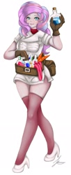 Size: 1280x3139 | Tagged: safe, artist:jennobasilicum, potion nova, equestria girls, my little pony: pony life, bag, belt, bottle, breasts, carrot, clothes, equestria girls-ified, female, food, gloves, high heels, potion, potions, shirt, shoes, simple background, skirt, sleeveless, sleeveless sweater, socks, solo, stockings, sweater, thigh highs, tongue out, white background
