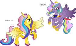 Size: 1062x649 | Tagged: safe, artist:zeldafreak159, princess gold lily, princess sterling, alicorn, female, flying, siblings, sisters