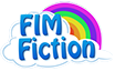Size: 104x64 | Tagged: safe, cloud, community related, fimfiction, logo, rainbow, simple background, text, transparent background