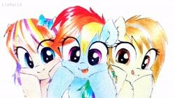 Size: 3561x2003 | Tagged: safe, artist:liaaqila, rainbow dash, oc, oc:qilala, human, pony, chubby cheeks, commission, cute, daaaaaaaaaaaw, dashabetes, ocbetes, tongue out