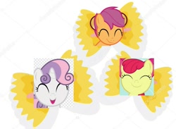 Size: 1375x1009 | Tagged: safe, edit, apple bloom, scootaloo, sweetie belle, earth pony, pegasus, unicorn, cartoon, cute, cutie mark crusaders, eyes closed, farfalle, food, pasta, shadow, simple background, smiling