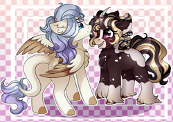 Size: 2500x1772 | Tagged: safe, artist:2pandita, oc, oc only, pegasus, pony, unicorn, blue eyes, female, looking at each other, mare, open mouth, red eyes, two toned wings, unshorn fetlocks, wings
