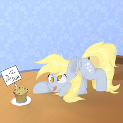 Size: 811x811   Tagged: safe, artist:ponyangle, derpy hooves, pony, female, food, mare, muffin, solo, that pony sure does love muffins