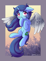 Size: 1200x1600 | Tagged: safe, artist:symbianl, oc, pony, unicorn, artificial wings, augmented, female, mare, mechanical wing, solo, wings
