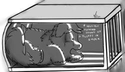 Size: 1076x620 | Tagged: safe, artist:nadvgia, fluffy pony, cage, crying, fear, fluffy, sad