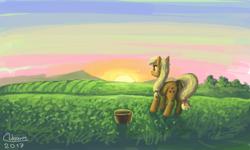 Size: 854x512 | Tagged: safe, artist:dreamyskies, applejack, bucket, field, grass, morning, quick draw, scenery, signature, simple background, sketch, solo, sunrise