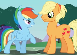 Size: 1312x936 | Tagged: safe, artist:sunflowernextgen, applejack, rainbow dash, earth pony, pegasus, pony, alternate hairstyle, appledash, appledash (straight), applejack (male), bedroom eyes, female, freckles, grin, half r63 shipping, looking at each other, male, one leg raised, ponytail, rule 63, shipping, smiling, straight