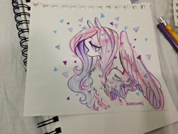 Size: 2048x1536 | Tagged: safe, artist:komunhorangi, fluttershy, colored pencil drawing, crying, sad, solo, traditional art