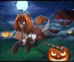 Size: 1280x1067 | Tagged: safe, artist:kyotoleopard, oc, oc only, pony, unicorn, art trade, barn, clothes, costume, digital art, female, halloween, halloween costume, holiday, horn, jack-o-lantern, mare, mouth hold, night, pumpkin, running, smiling, solo, tail
