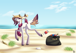 Size: 2835x2000   Tagged: safe, artist:sadatrix, oc, oc:blueberry, deer, deer pony, original species, scented pony, beach, female, solo