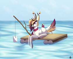 Size: 2351x1890   Tagged: safe, artist:sadatrix, oc, oc only, oc:blueberry, deer, deer pony, original species, scented pony, candle, female, fishing rod, prone, raft, solo, water