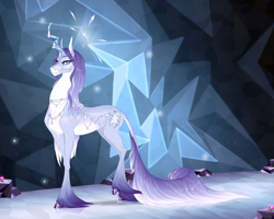 Size: 2000x1600 | Tagged: safe, artist:dementra369, tree of harmony, oc, pony, unicorn, accessories, cloven hooves, crystal hooves, crystal horn, female, horn, leonine tail, mare, ponified, solo, white pupils