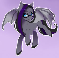 Size: 1280x1264 | Tagged: safe, artist:kyotoleopard, oc, oc only, oc:luna farrowe, bat pony, pony, bat pony oc, bat wings, commission, digital art, female, flying, glasses, looking at you, mare, simple background, smiling, smiling at you, solo, spread wings, tail, wings