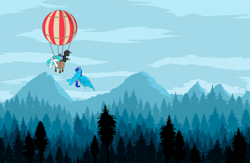 Size: 9214x6000 | Tagged: safe, artist:bitrate16, oc, oc only, oc:kaizer, oc:laser shine, bat pony, changeling, pegasus, balloon, basket, bat pony oc, bat wings, changeling oc, cup, forest, forest background, high res, hot air balloon, looking at someone, looking down, mountain, pegasus oc, vector, wallpaper, wings