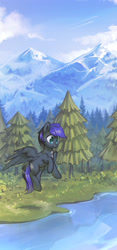 Size: 1511x3228   Tagged: safe, artist:mirroredsea, oc, oc only, pegasus, commission, dog tags, flying, forest, high res, mountain, scenery, solo, spread wings, tree, water, wings