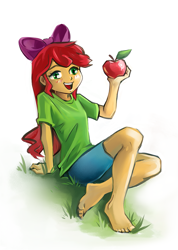 Size: 771x1080 | Tagged: safe, artist:jennobasilicum, apple bloom, equestria girls, apple, apple bloom's bow, barefoot, blushing, bow, clothes, feet, food, grass, hair bow, open mouth, shirt, shorts, simple background, sitting, solo, t-shirt, white background