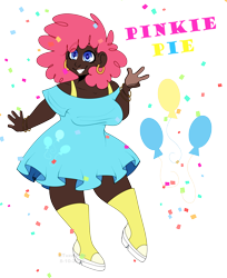 Size: 3300x4036 | Tagged: safe, artist:tuzz-arts, derpibooru exclusive, pinkie pie, human, boots, bracelet, chubby, clothes, dark skin, dress, ear piercing, earring, female, frilly dress, humanized, jewelry, piercing, platform shoes, shoes, simple background, smiling, solo, text, transparent background