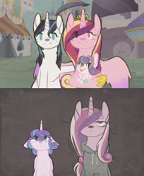 Size: 1280x1566   Tagged: safe, artist:kisynya193, princess cadance, princess flurry heart, shining armor, alicorn, pony, unicorn, clothes, female, filly, hoodie, looking at you, male, mare, mother and child, mother and daughter, stallion