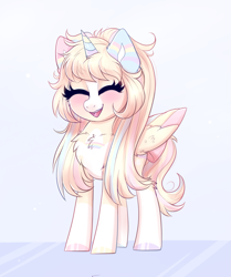 Size: 2045x2441 | Tagged: safe, artist:ravensunart, oc, oc only, oc:princess, alicorn, pony, chest fluff, colored wings, cute, eyes closed, female, folded wings, mare, multicolored wings, open mouth, pigtails, simple background, solo, wings