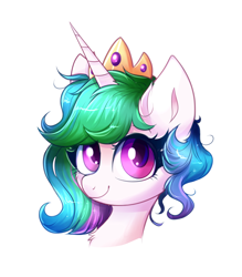 Size: 1616x1842 | Tagged: safe, artist:ravensunart, princess celestia, alicorn, pony, alternate hairstyle, bust, chest fluff, crown, ear fluff, female, jewelry, looking at you, mare, regalia, simple background, solo, white background