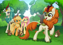 Size: 2500x1767 | Tagged: safe, artist:kyotoleopard, applejack, autumn blaze, fluttershy, rain shine, earth pony, kirin, pegasus, pony, squirrel, sounds of silence, apple, apple tree, applejack's hat, awwtumn blaze, blushing, cowboy hat, cute, digital art, female, floppy ears, food, forest, grass, grin, happy, hat, high res, hooves, horn, mare, open mouth, raised hoof, singing, smiling, tree
