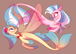Size: 4093x2894 | Tagged: safe, artist:shore2020, princess skystar, silverstream, seapony (g4), my little pony: the movie, brown background, cousins, cute, duo, female, high res, no pupils, seashell necklace, simple background