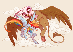 Size: 4093x2894 | Tagged: safe, artist:shore2020, gilda, rainbow dash, griffon, pegasus, pony, cloud, cute, duo, duo female, female, flying, high res, mare, open mouth, ruffled hair, size difference, tongue out