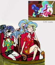 Size: 1747x2073 | Tagged: safe, artist:citi, screencap, princess celestia, princess luna, human, between dark and dawn, alternate hairstyle, crying, hair bun, humanized, makeup, ponytail, royal sisters, scene interpretation, screencap reference, sisters, starry hair