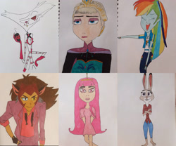 Size: 3240x2700 | Tagged: safe, artist:pastelqueenart, rainbow dash, anthro, rabbit, six fanarts, equestria girls, adventure time, angel dust, animal, bust, catra, clothes, crossed arms, crossover, elsa, female, frozen (movie), hazbin hotel, judy hopps, laughing, open mouth, princess bubblegum, she-ra and the princesses of power, smiling, solo, traditional art, zootopia