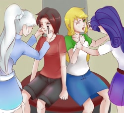 Size: 1280x1164 | Tagged: safe, artist:reinver, applejack, rarity, human, equestria girls, crossover, human coloration, makeup, ruby rose, rwby, weiss schnee