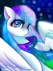 Size: 900x1199 | Tagged: safe, artist:kiwwsplash, oc, oc only, pegasus, pony, clothes, constellation, crescent moon, moon, pegasus oc, scarf, solo, wingding eyes, wings